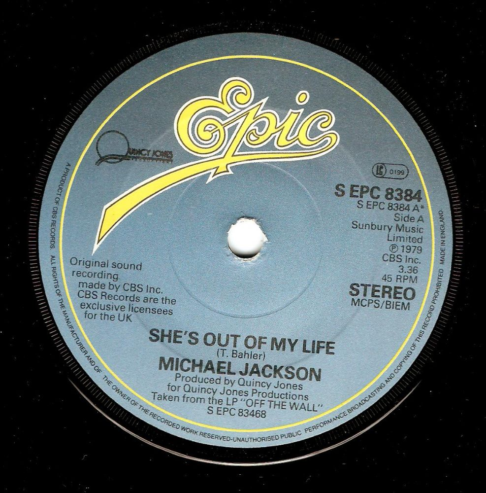 MICHAEL JACKSON She's Out Of My Life Vinyl Record 7 Inch Epic 1979